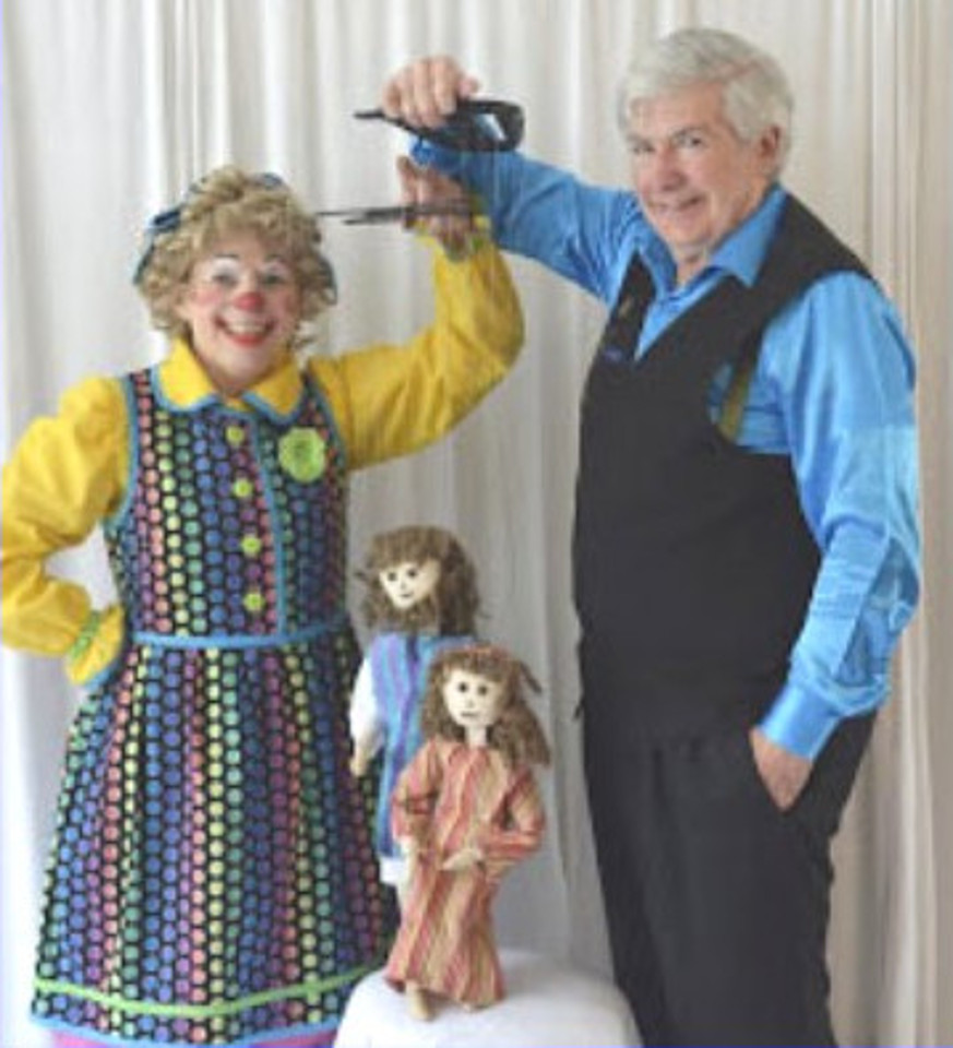 Mr. T and Rainbow using shepherd marionettes