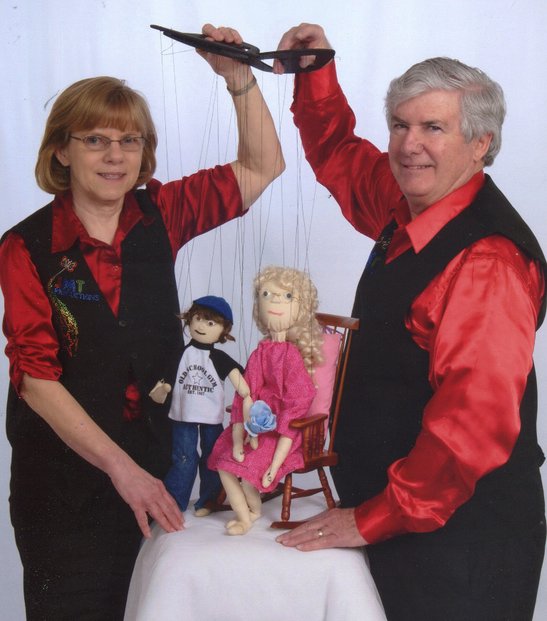 Joanne and John using marionettes