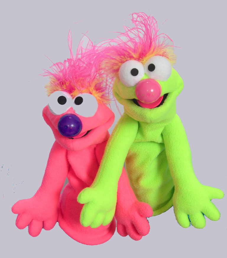 Two brightly colored puppets